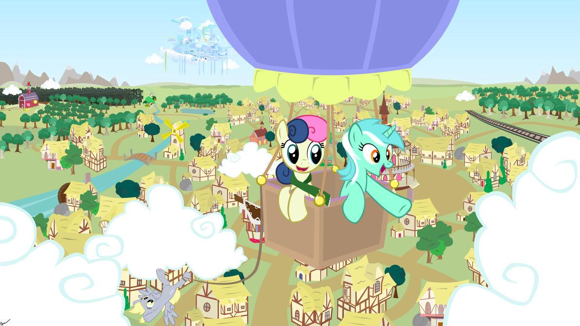 Lyra and Bon Bon's Balloon Ride by GolemGeekery
