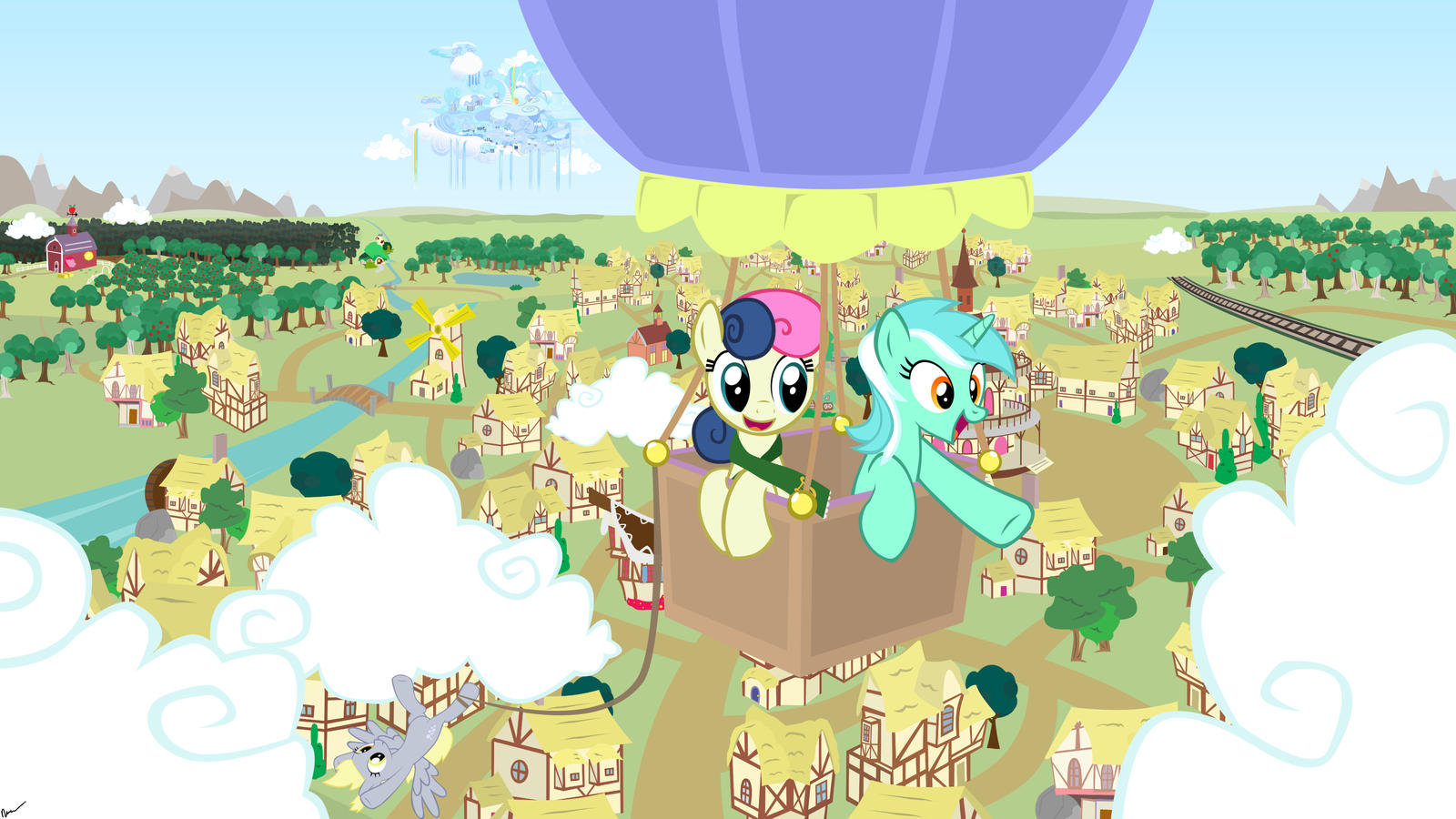 Lyra and Bon Bon's Balloon Ride by GolemGeekery