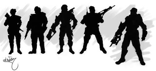 Soldado futurista Siluetas