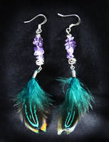 Amethyst and Green Feathers by SapphireIceAngel