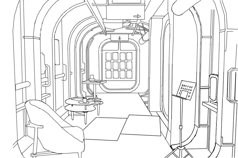 Outline drawing of fallout room by that1artguy on deviantart for Living room outline