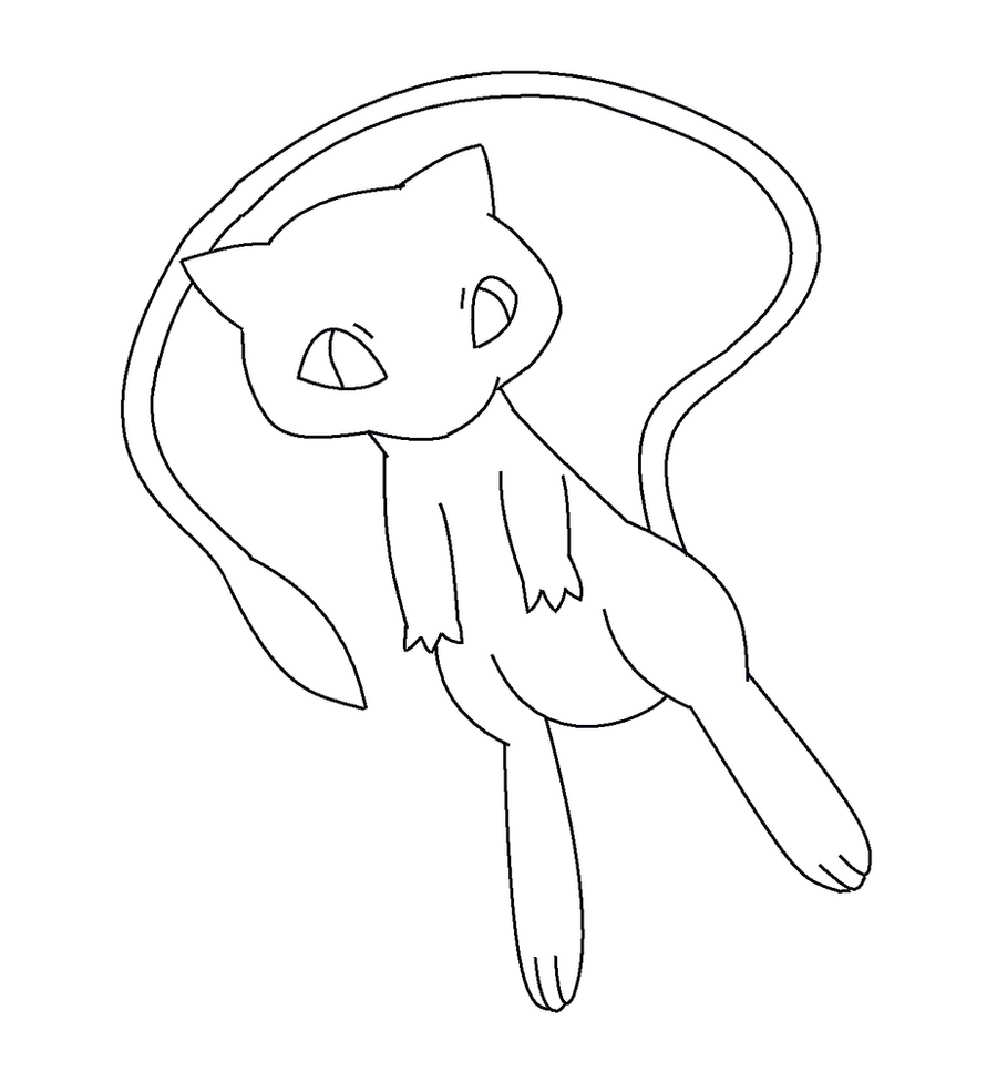 pokemon coloring pages mew - mew line art by kawaii769 on deviantart