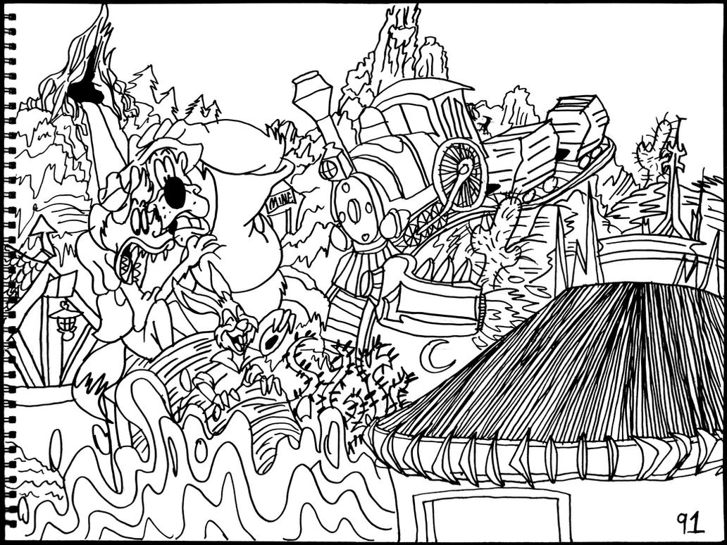 disney rides coloring pages | Space, Big Thunder Railroad and Splash Mountain by ...