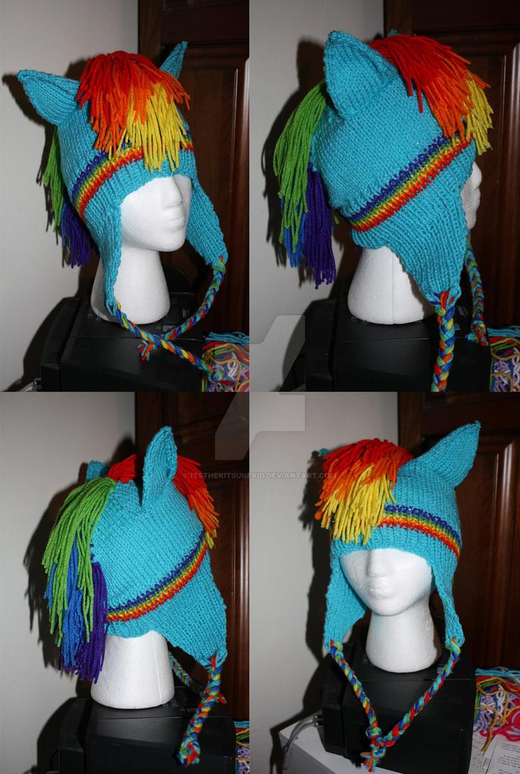 Rainbow Dash Pegasus Pony Hat by itsthekitsunekid