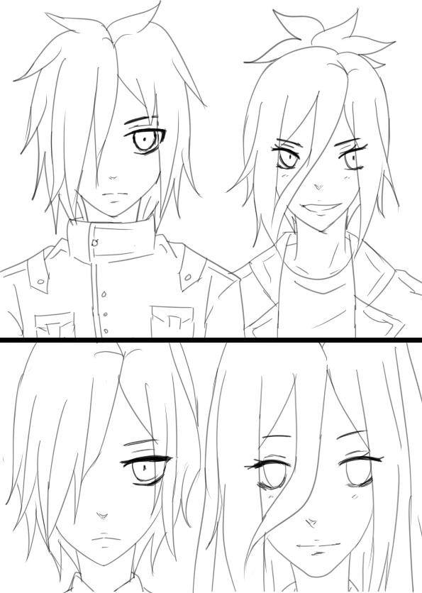Sora And Yuu sketch by inazumafan11