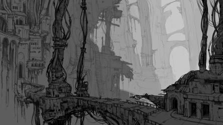 Landscape sketch, i guess? by RovingNeophyte