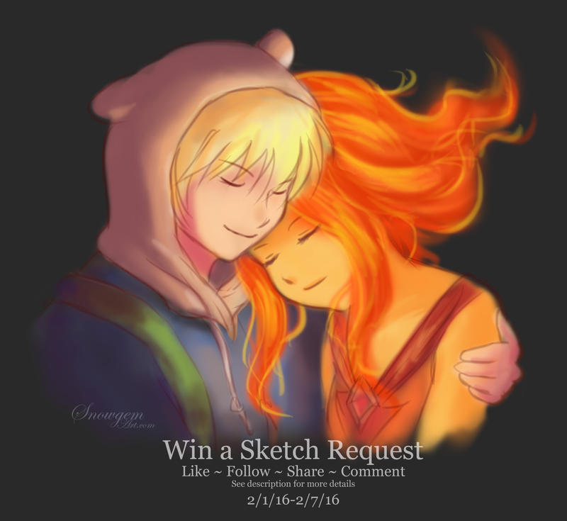 Sketch Request Giveaway: Finn and Flame Princess by snowygem