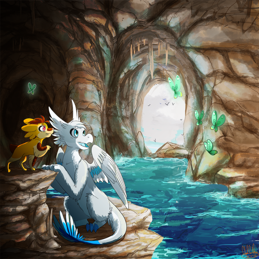 [Commission] A Mysterious Cave by Vaylore