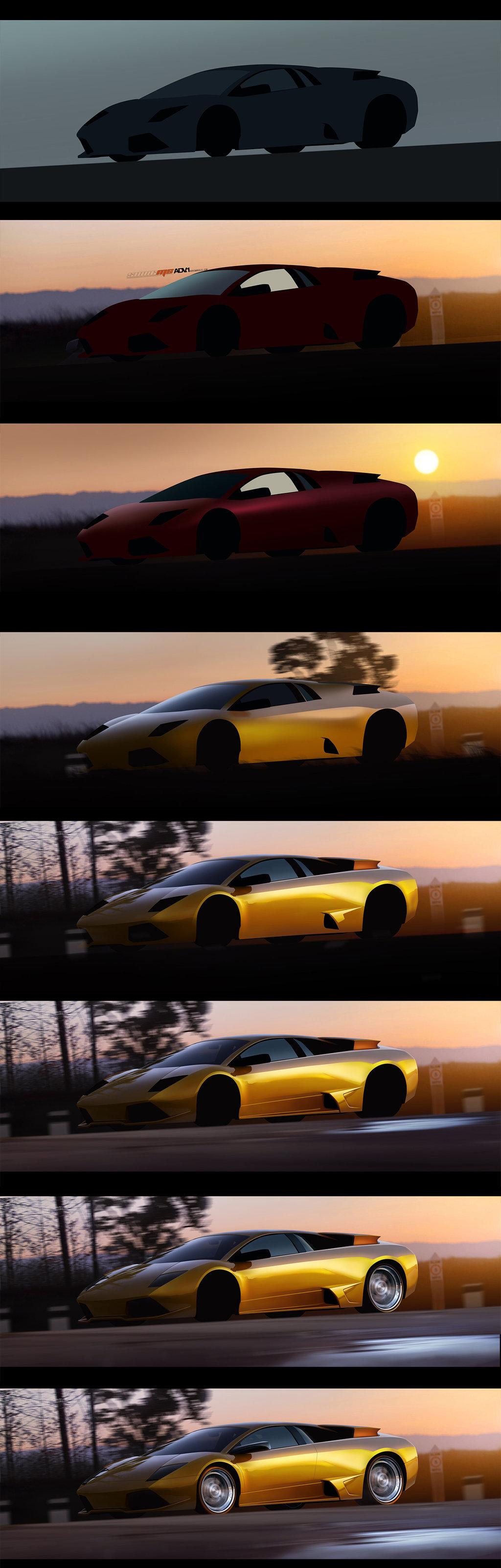 Gold Lamborghini WIP by SaphireDesign