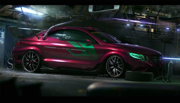 Mercedes in the garage