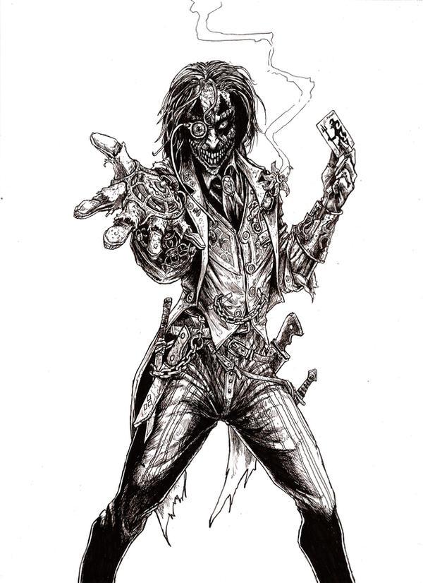 Steampunk Joker Linework by odingraphics