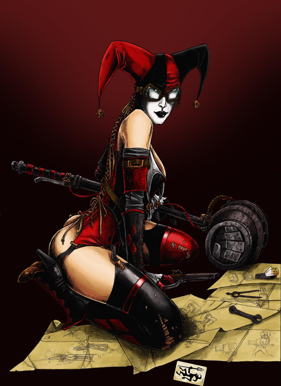 Steammpunk Harley Quinn Colour by odingraphics