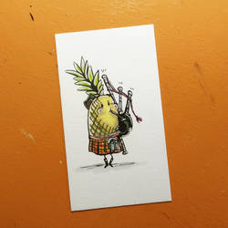 Inktober 10/16/17 - Pineapple on the bagpipes