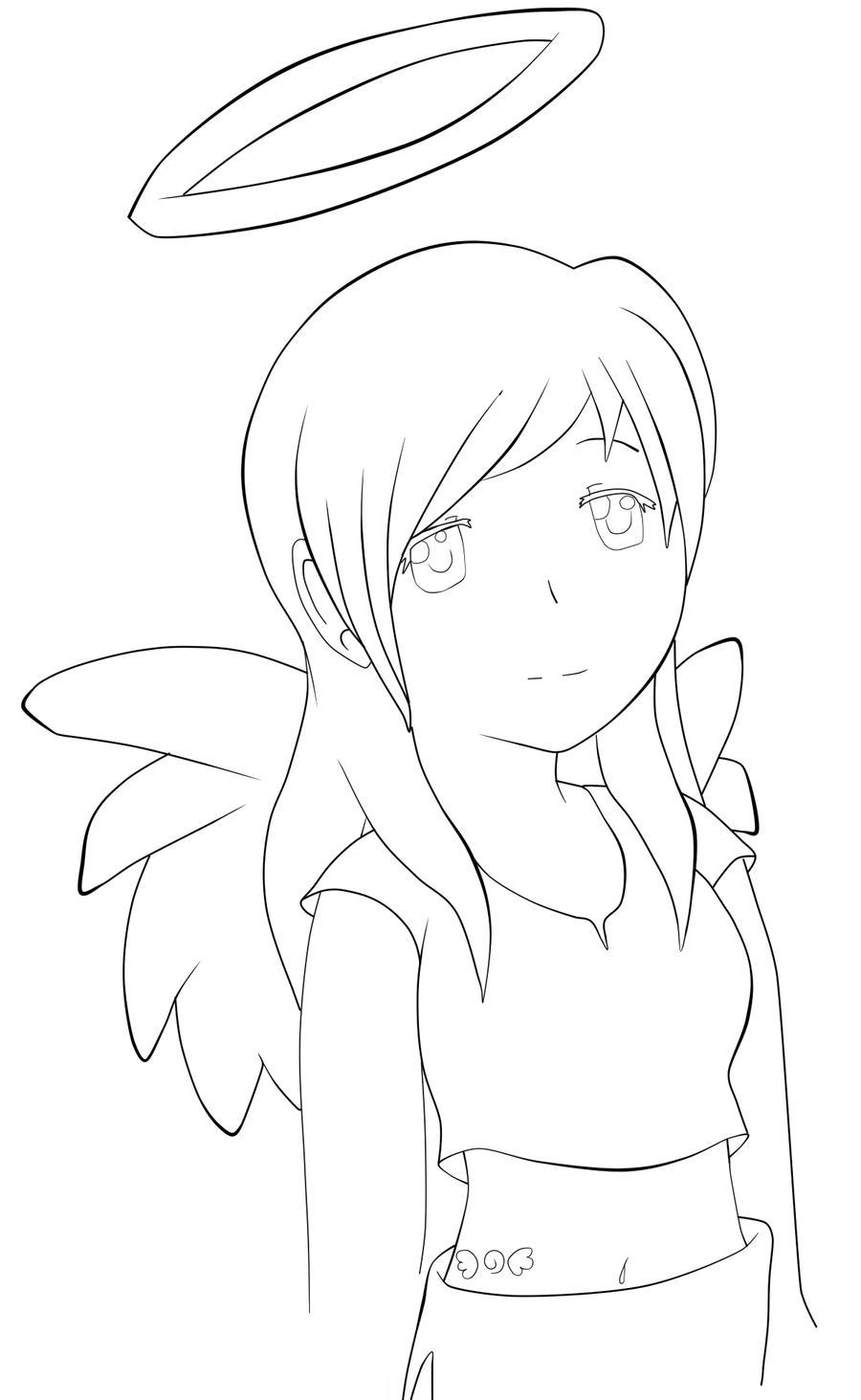 Line Art Angel : Angel line art by kitsunemist on deviantart