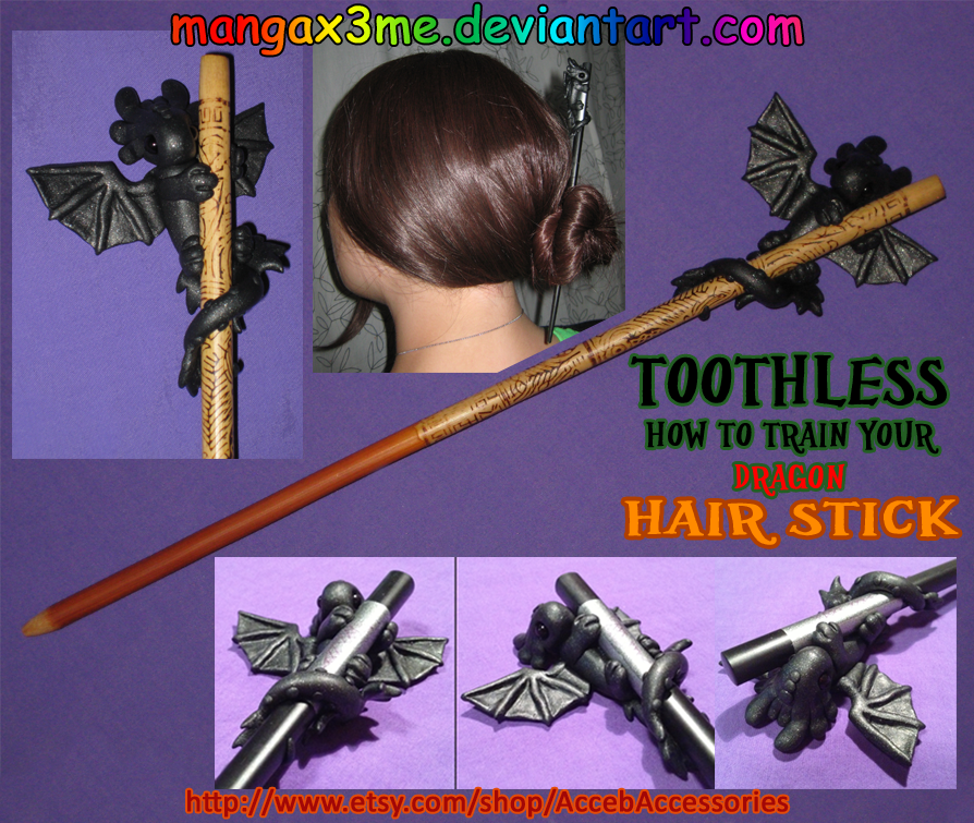HTTYD Toothless Hair Stick by MangaX3me