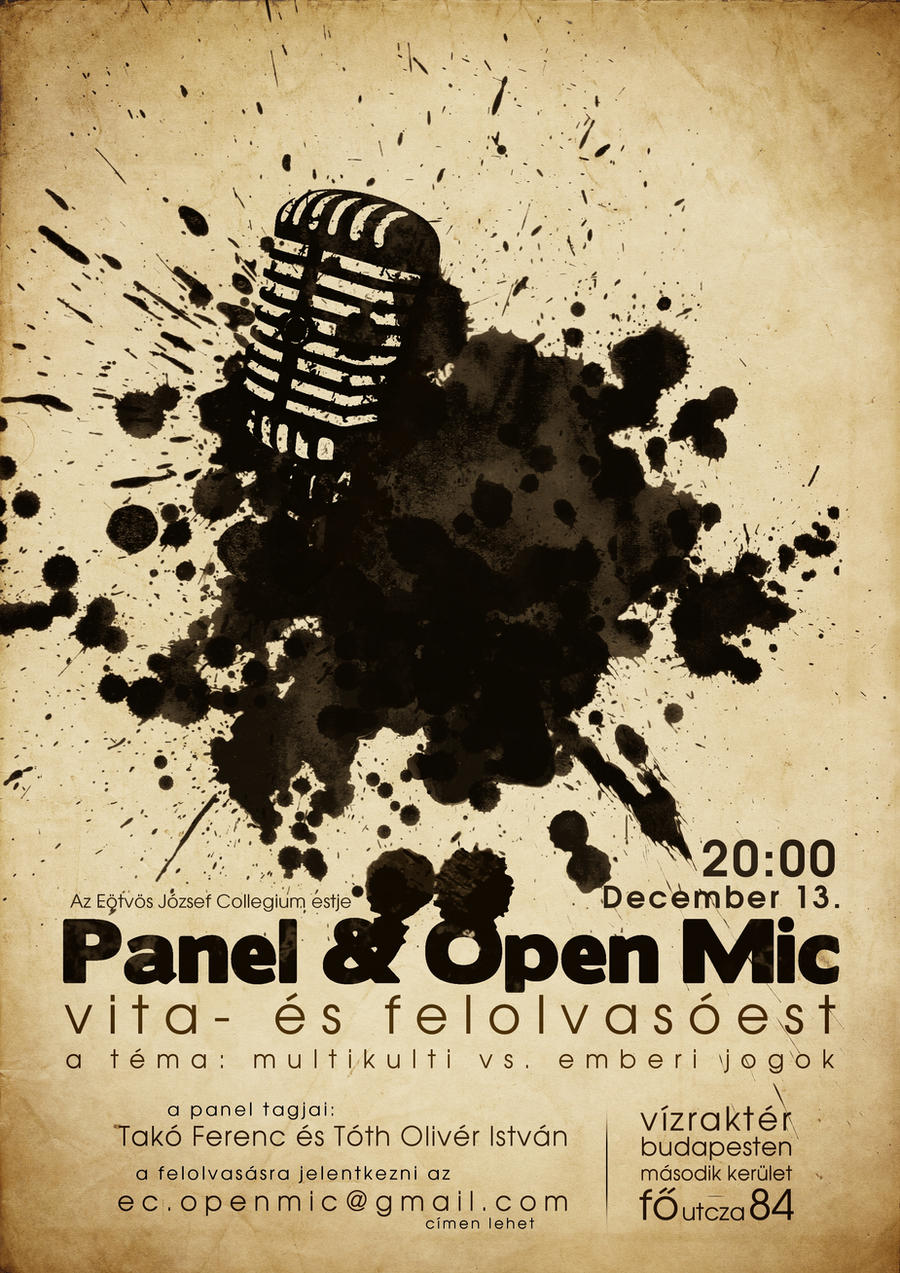 Discussion Panel and Open Mic Night Poster by patopal