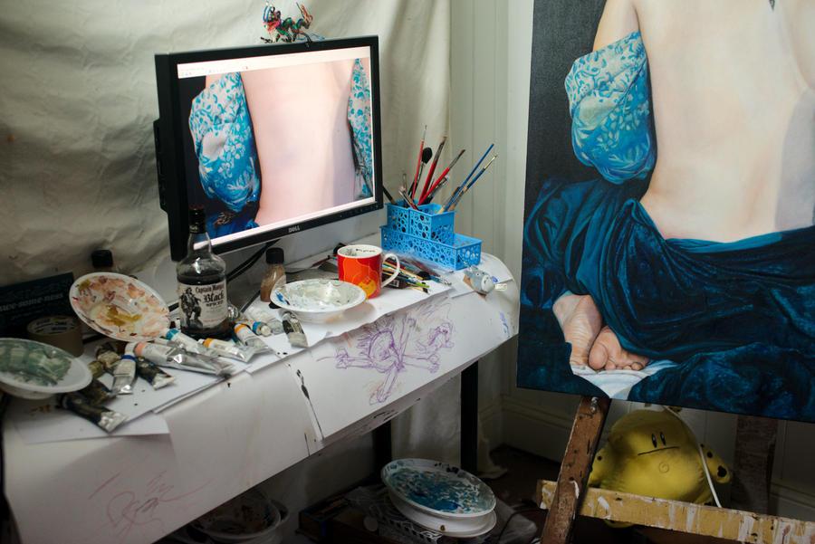 Desktop halfway through an oil painting by Jumprabbit