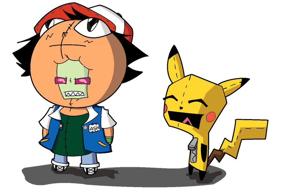 Zim Ash and Gir Pikachu by Dokoyne