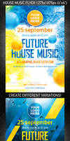 Future House Music Flyer, PSD Template