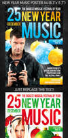 New Year Music Poster, PSD Template
