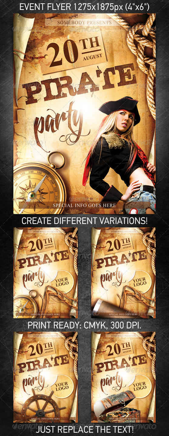 Pirate Party Event Flyer, PSD Template by 4ustudio on ...