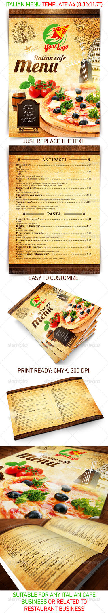 Italian Menu Template Psd Template By 4ustudio On Deviantart
