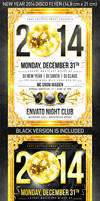New Year 2014 disco flyer, PSD Template