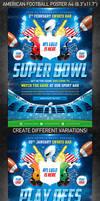 American Football Super Bowl Poster, PSD Template