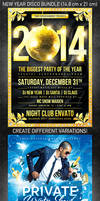 New Year Disco Flyer Bundle, PSD Template