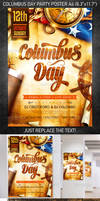 Columbus Day Party Poster, PSD Template