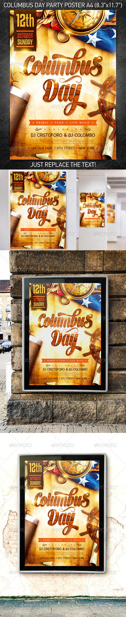 Columbus Day Party Poster, PSD Template by 4ustudio