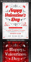 Valentine`s Day party poster, PSD Template
