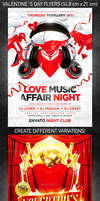 Valentine`s Day party flyer bundle, PSD Template