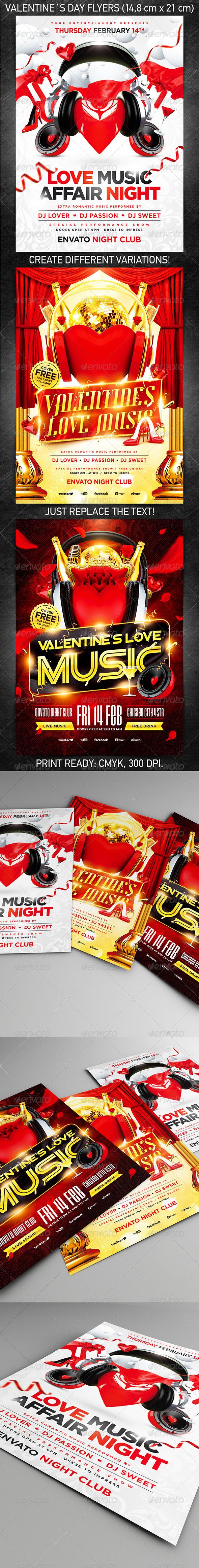 Valentine`s Day party flyer bundle, PSD Template