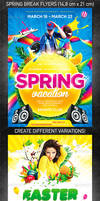 Spring break party flyer bundle, PSD Template