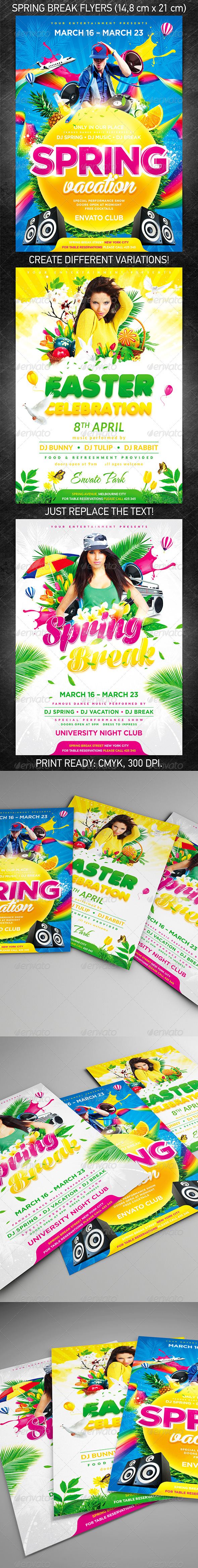 Spring break party flyer bundle, PSD Template