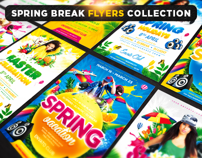 Spring Break Flyers Collection by 4ustudio
