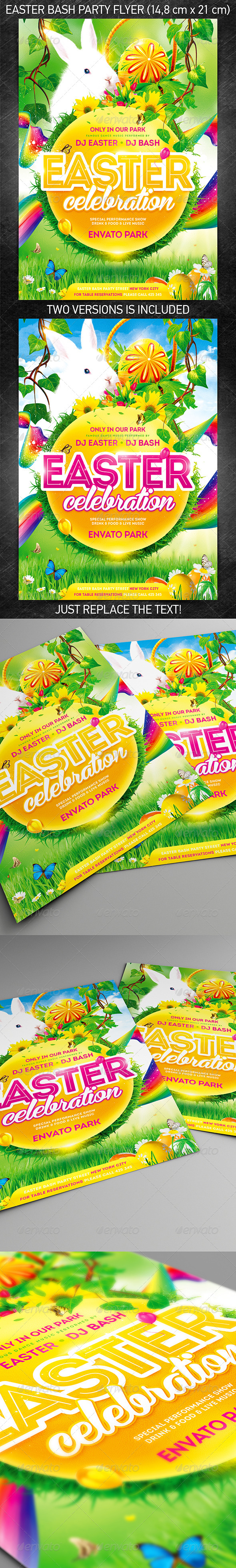 Easter bash party flyer, PSD Template