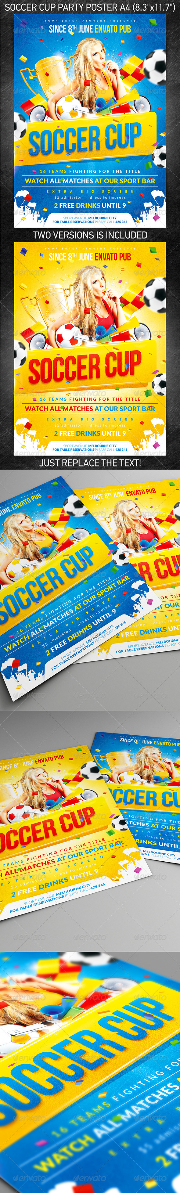 Soccer Cup party poster, PSD Template