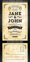 Vintage Wedding Invitation vol.2, PSD Template