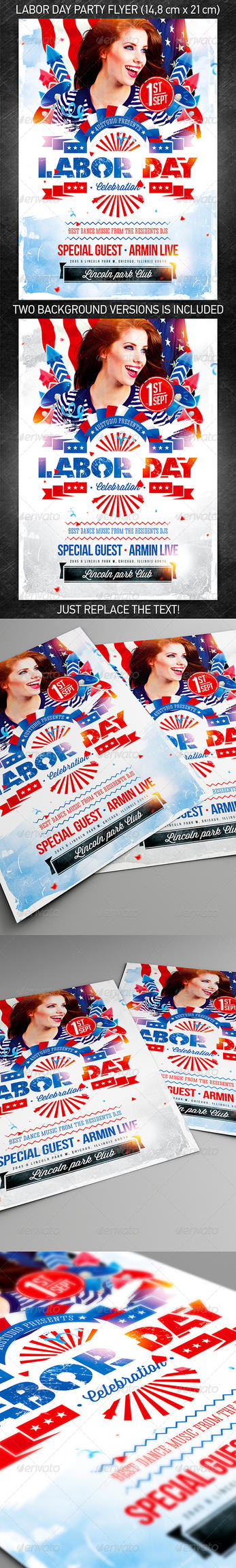 Labor Day Party Flyer vol.2, PSD Template by 4ustudio
