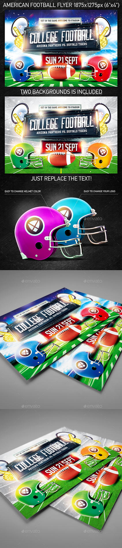 American Football Game Flyer vol.3, PSD Template by 4ustudio