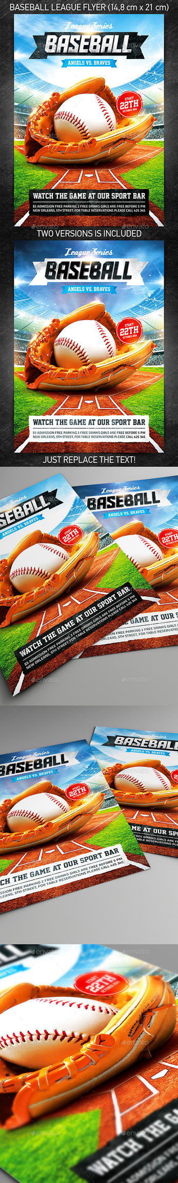 Baseball League Series Flyer, PSD Template by 4ustudio
