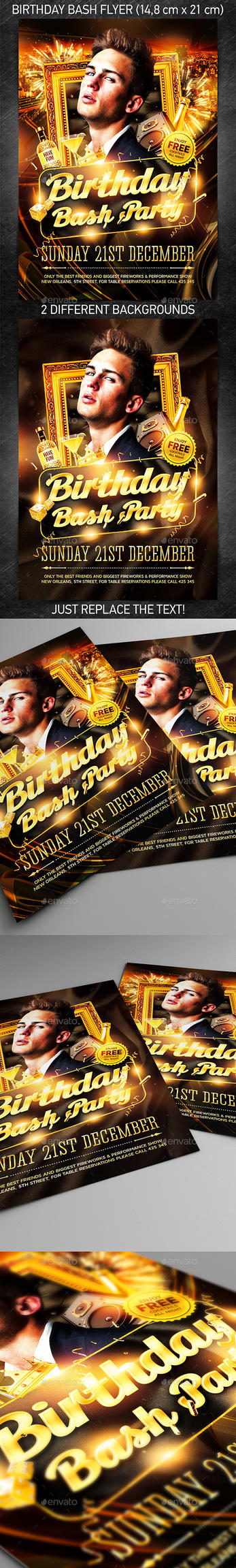 Birthday Bash Party Flyer, PSD Template by 4ustudio