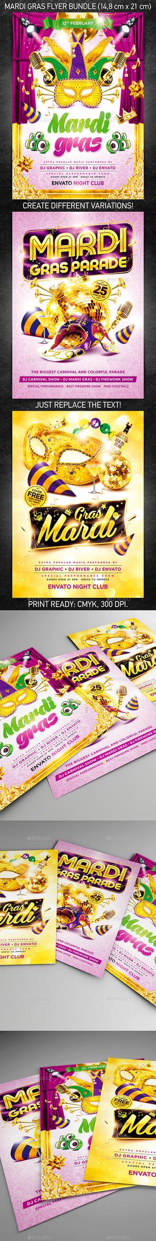 Mardi Gras Party Flyer Bundle, PSD Template by 4ustudio