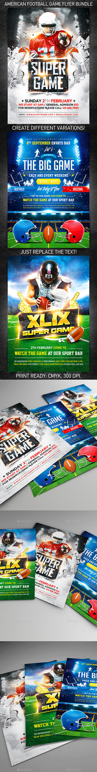 American Football Game Flyer Bundle, PSD Template by 4ustudio