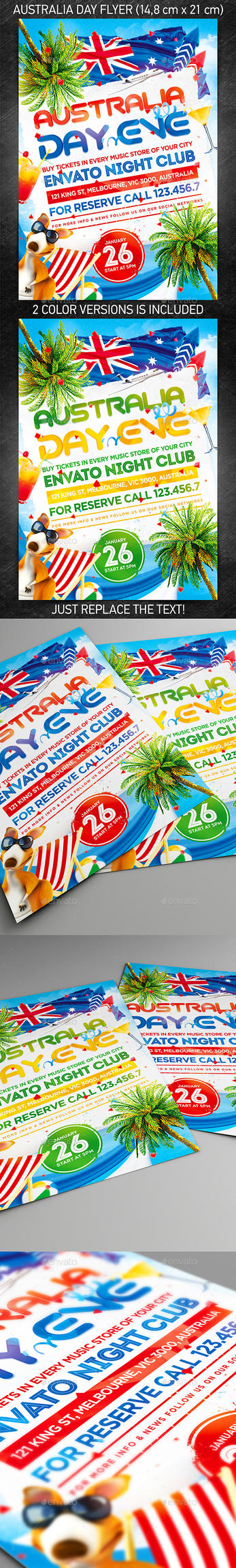 Australia Day Party Flyer, PSD Template by 4ustudio