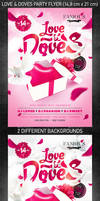 Love and Doves Party Flyer, PSD Template