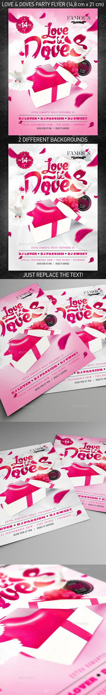 Love and Doves Party Flyer, PSD Template by 4ustudio