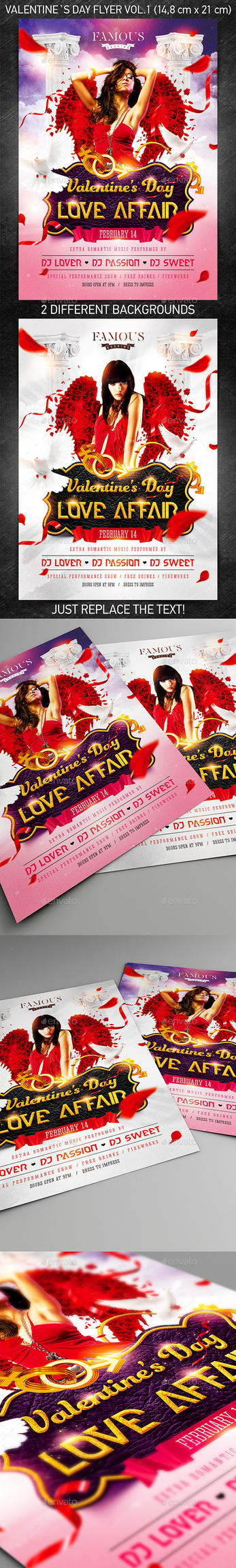 Valentine`s Day Party Flyer vol.1, PSD Template by 4ustudio